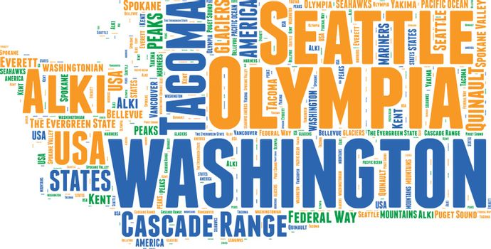 Washington USA state map vector tag cloud illustration
