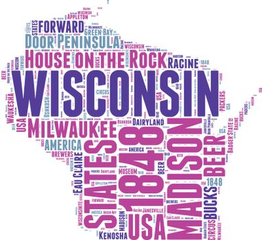 Wisconsin USA state map vector tag cloud illustration