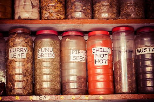 Composition of many different spices teas and herbs