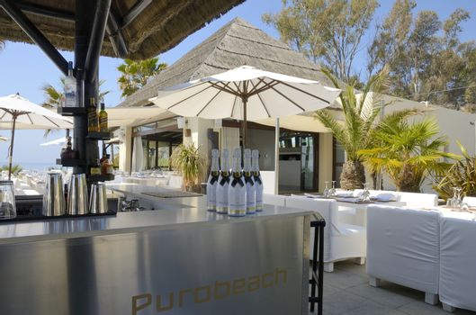 Purobeach Marbella is located directly on the beautiful beach close to Estepona, Andalusia, Spain