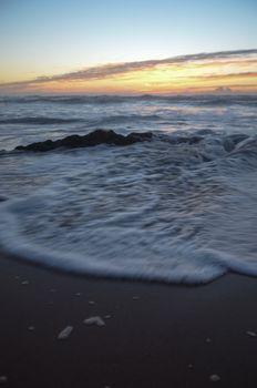 Beach Scene Under Sunset