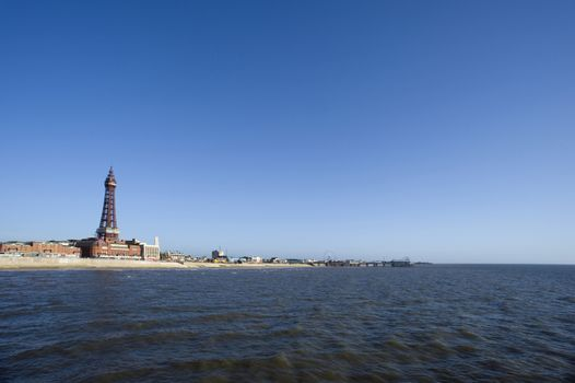 View of Blackpool seafront from the ocean