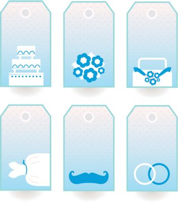 Wedding labels or tags for your party. Vector Illustration