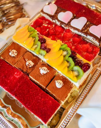 Variation of coloful cakes