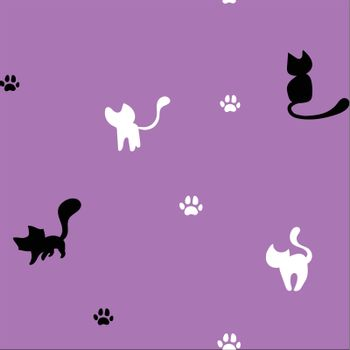 Seamless cute kitten background
