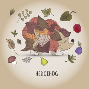 Hedgehog with fruit and leaves