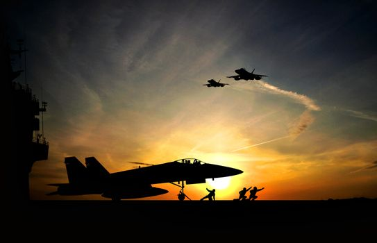 Military aircraft before take-off from aircraft carrier on dramatic sunset background