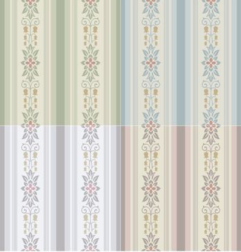 seamless floral stripes wallpaper pattern