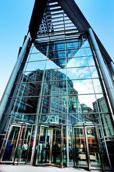 Exterior shot of a glass building