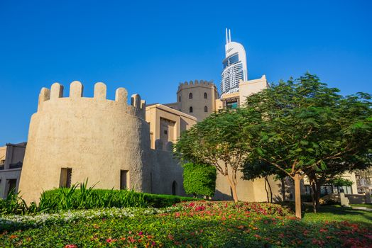 views old fortress walls of the eastern city. Dubai, UAE