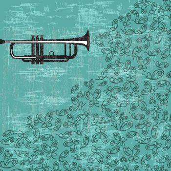 Music background with trumpet and butterflies