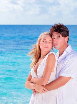 Happy lovers in honeymoon