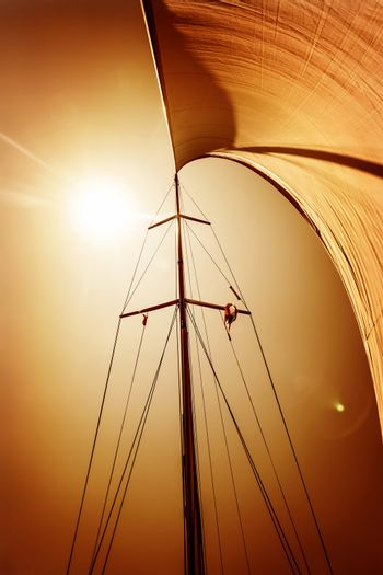 Sail fluttering in the wind