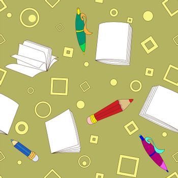 School notes seamless pattern on khaki background. Tools for drawing. Cartoon color background.