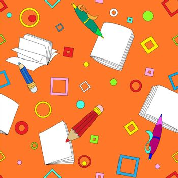 School notes seamless pattern on orange background. Tools for drawing. Cartoon color background.