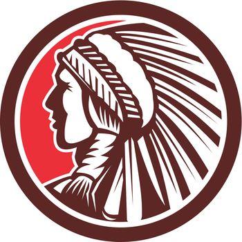Native American Warrior Chief Circle