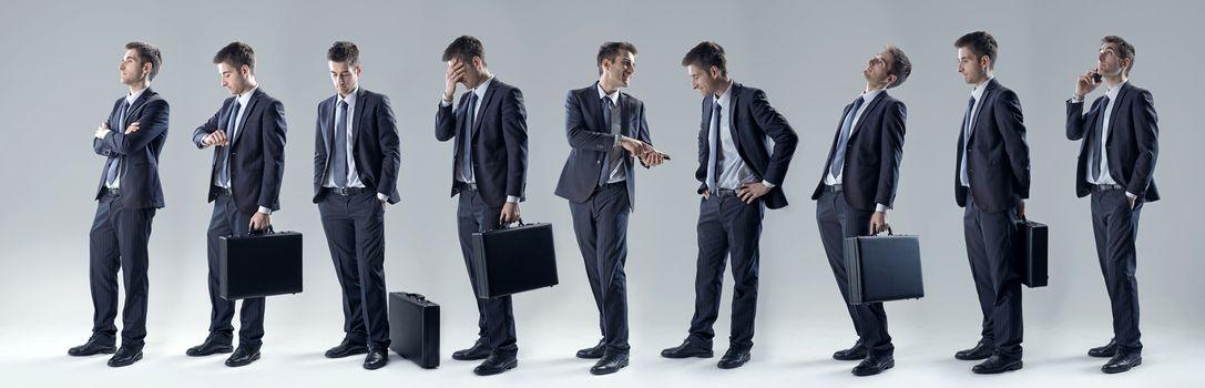 Businessman set of poses