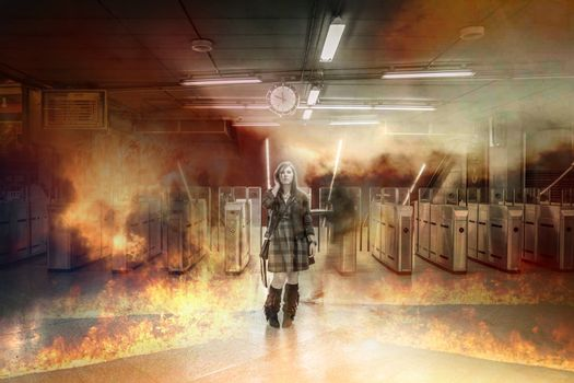 Only, girl on fire in a train station, over time, risk