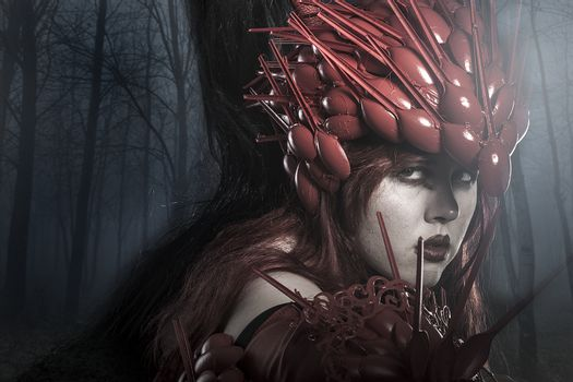 Viking warrior in a dark forest, valkyrie