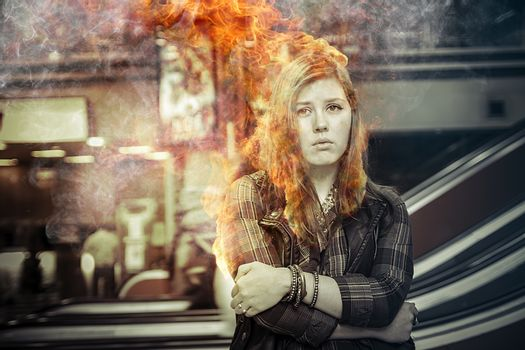 Danger, girl on fire in a train station, over time, risk
