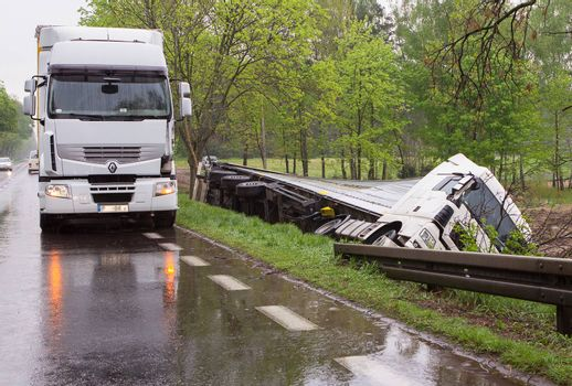Truck accident. The driver probably fell asleep at the wheel.