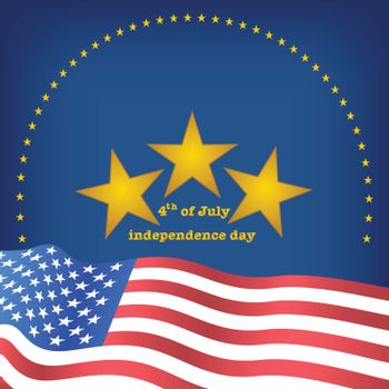 golden star above wave flag of america for celebration fourth of july