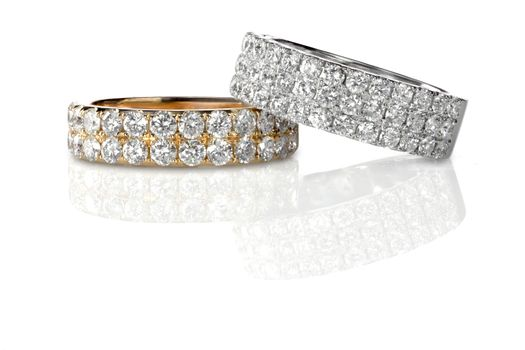 Cluster stack of diamond gemstone wedding engagment rings