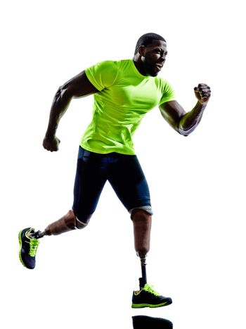 handicapped man joggers runners running with legs prosthesis  si