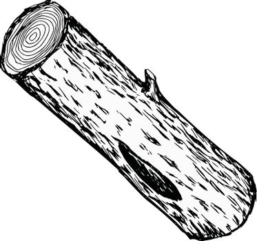 hand drawn, cartoon, sketch illustration of wood log