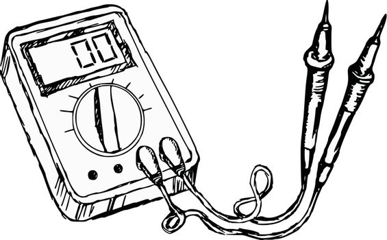 hand drawn, cartoon, sketch illustration of multimete