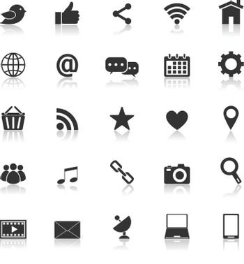 Social media icons with reflect on white background, stock vector