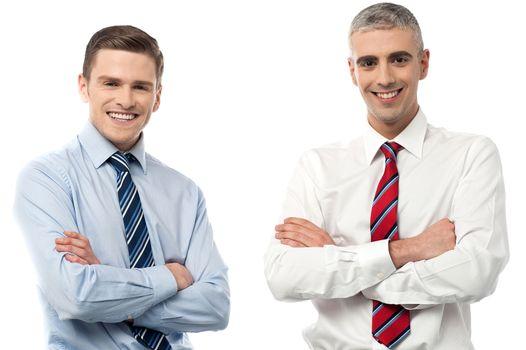 Smiling  businessmen posing together