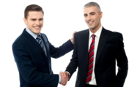 Successful businessmen shaking hands