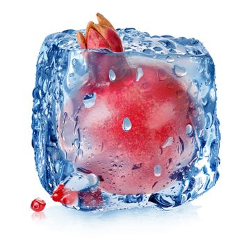 Pomegranate in ice