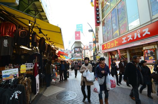 TOKYO, JAPAN - NOVEMBER 22 : Ameyoko market in Ueno District at November 22, 2013 in Tokyo, Japan. Ameyoko, once an entertainment district for US marines, now an exotic, classical asian market.