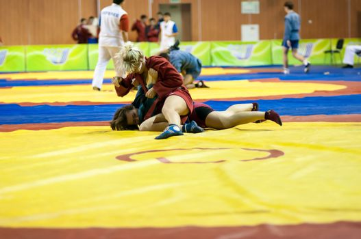 Sambo or Self-defense without weapons. Competitions girls... ...
