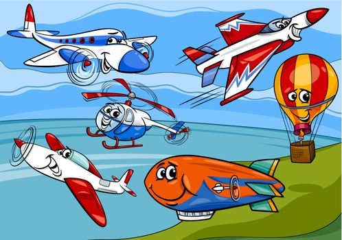 Cartoon Illustration of Funny Planes and Aircraft Characters Group