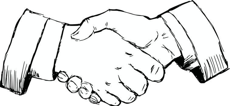 hand drawn, cartoon, sketch illustration of handshake
