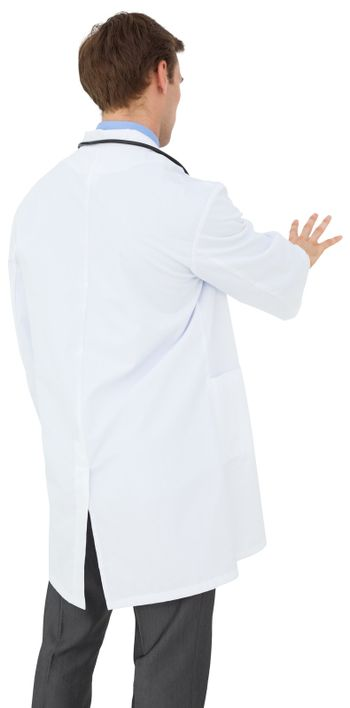 Young doctor in lab coat gesturing