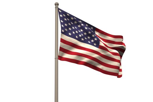 Digitally generated american national flag on white background