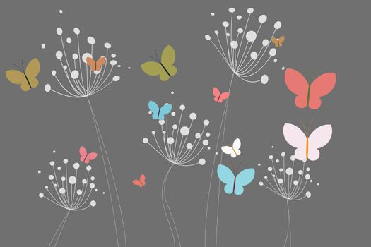 Colourful butterflies and dandelions
