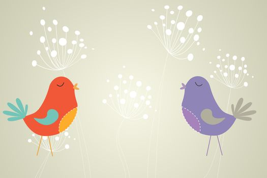 Feminine design of dandelions and birds