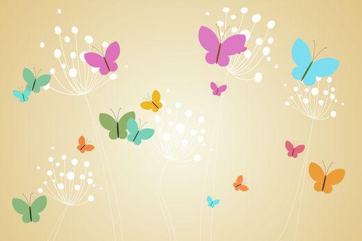 Feminine design of dandelions and butterflies