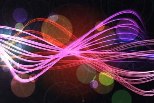 Curved laser light design in pink