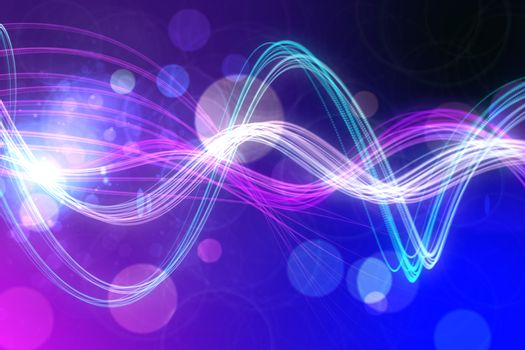 Curved laser light design in purple