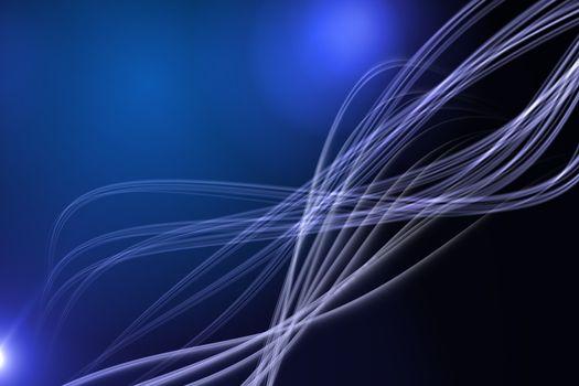 Curved laser light design in blue