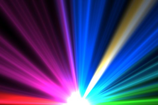 Bright colourful laser beams shining