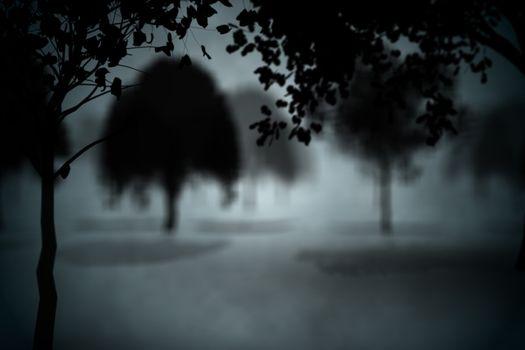 Dark gothic scene with trees