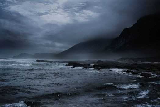 Stormy weather on the sea at night