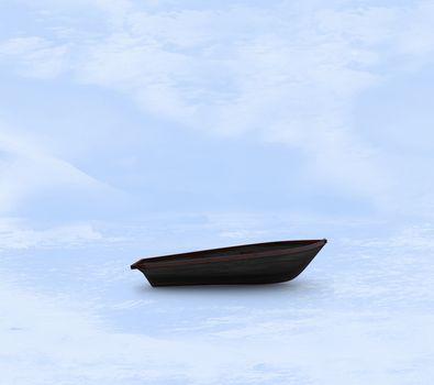 Sail boat stuck in ice
